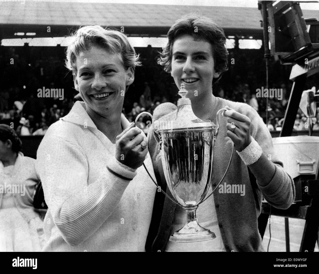 Maria Bueno and Darlene Hard with their trophy Stock
