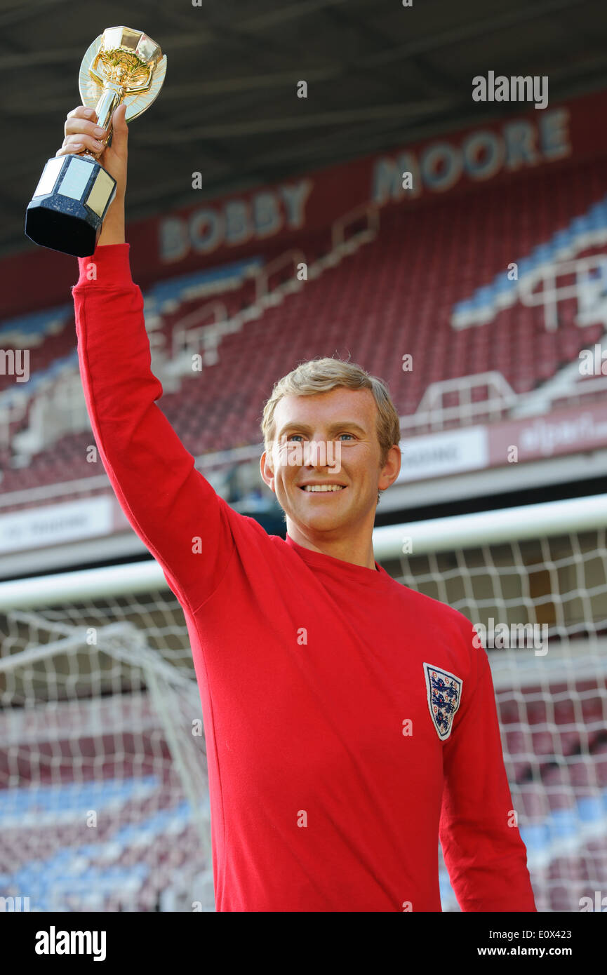 The Bobby Moore wax figure is unveiled at West Ham United football