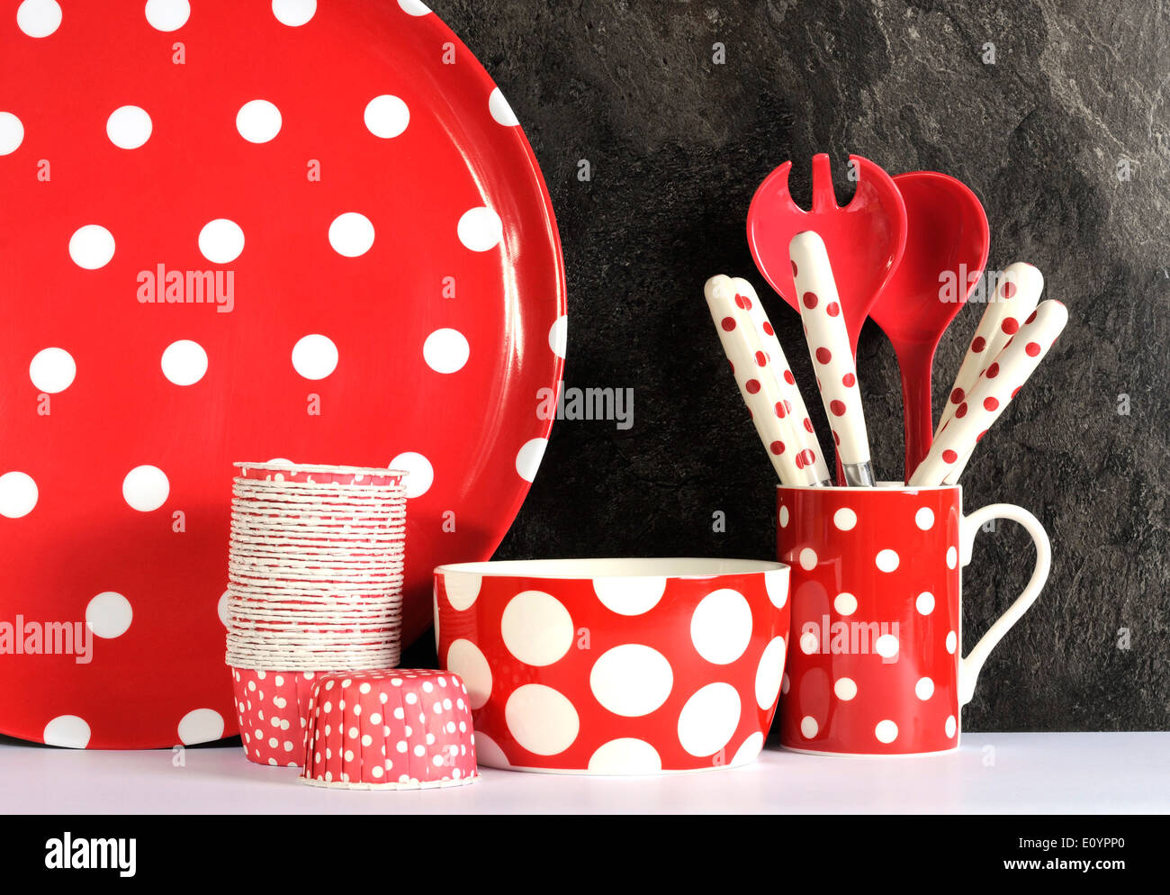 Modern Red and White Polka Dot Kitchen with large platter plate ...
