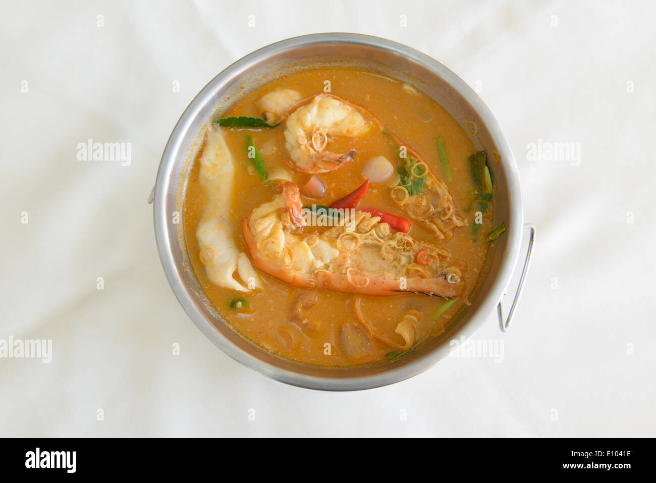 spicy tom yum goong soup with giant prawns, Bangkok ...