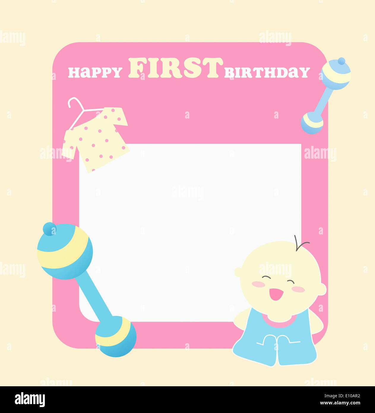 A card template wishing happy first birthday stock photo for First birthday board template