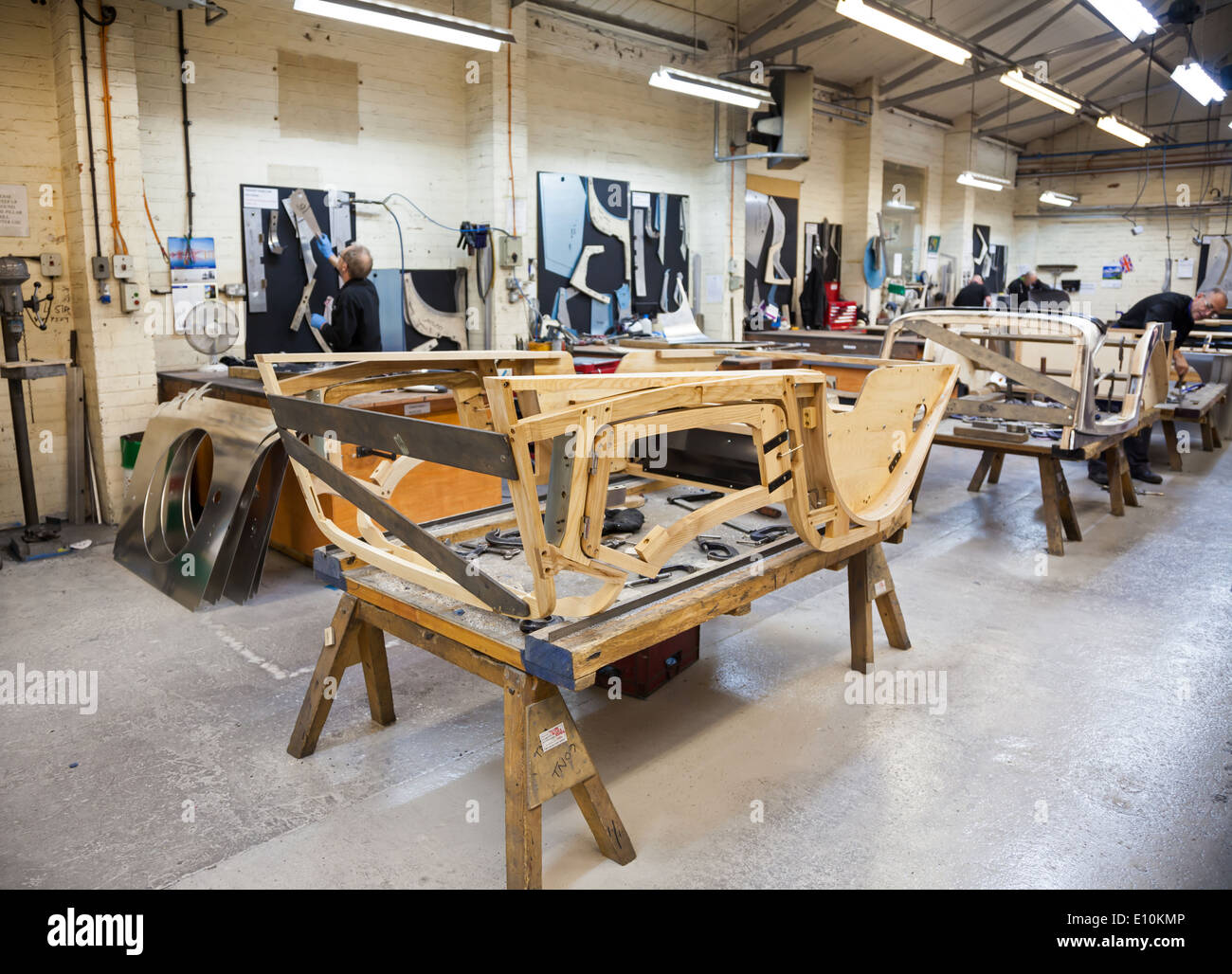 stock photo the wooden ash frames of cars being made at the morgan motors car factory