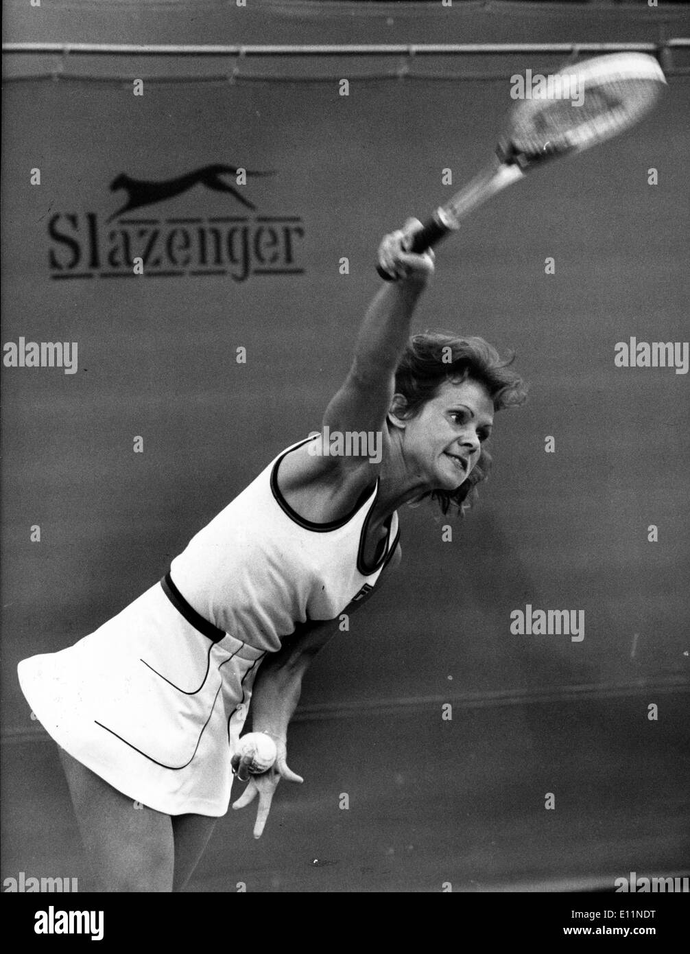 Tennis player Evonne Goolagong plays in match Stock Royalty