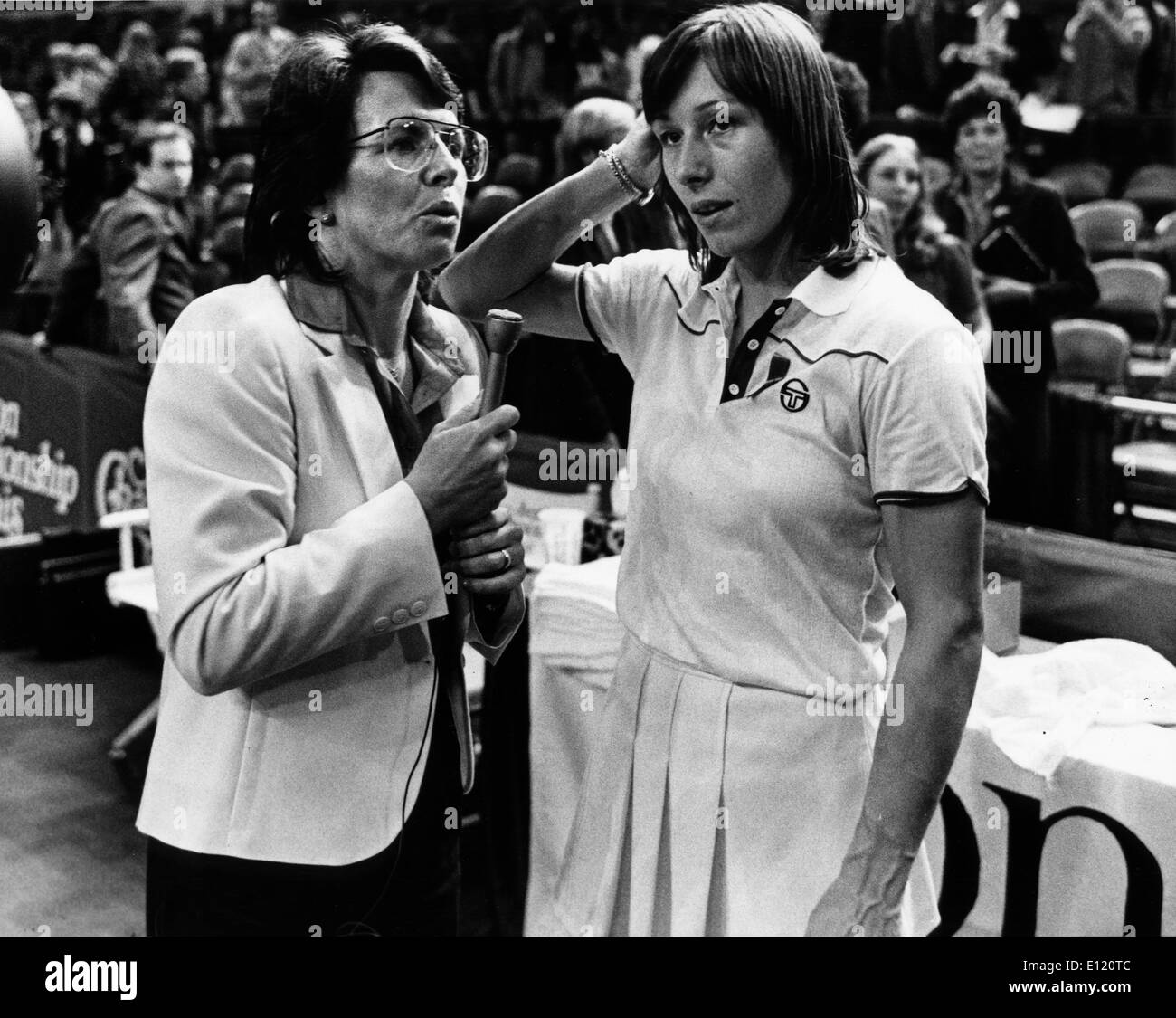 Billie Jean King interviews Martina Navratilova Stock