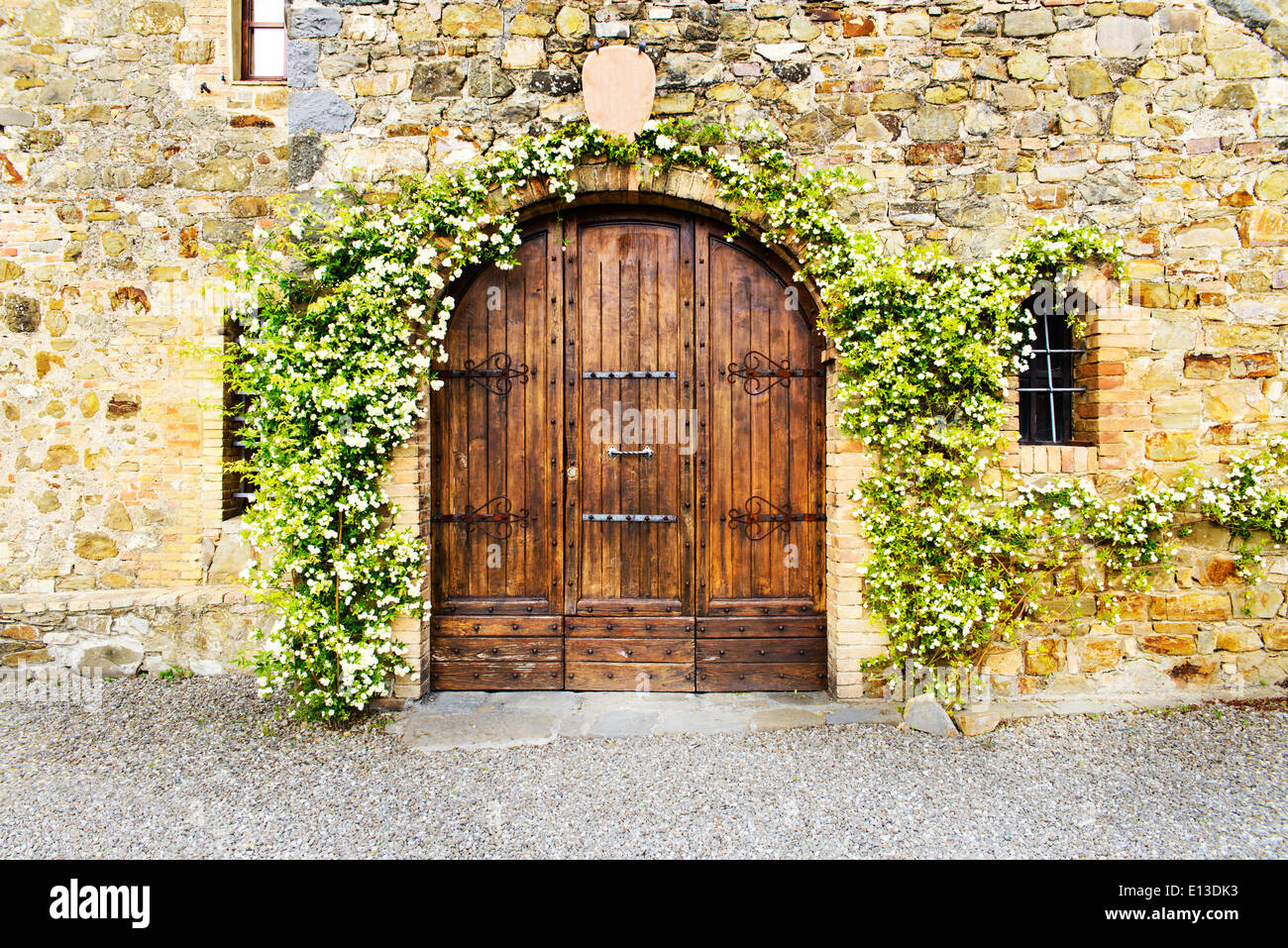 Stony wall and door of a tuscan villa : tuscan door - pezcame.com