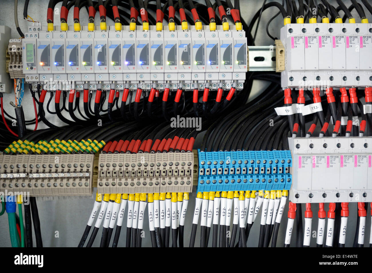 fuse box with many cables E14W7E fuse box with many cables stock photo, royalty free image fuse box cable at aneh.co