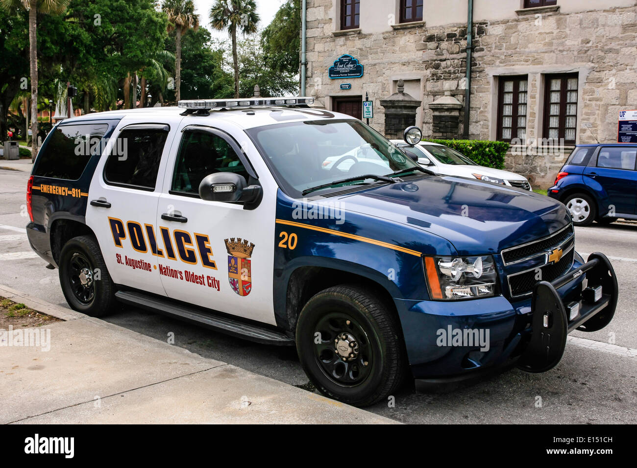 a chevy police cruiser of the st augustine police dept florida stock photo royalty free image. Black Bedroom Furniture Sets. Home Design Ideas