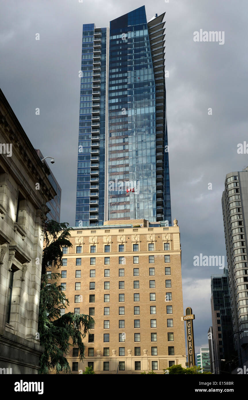 Stock photo the luxury rosewood hotel georgia and private residences tower on burrard street in downtown vancouver bc canada