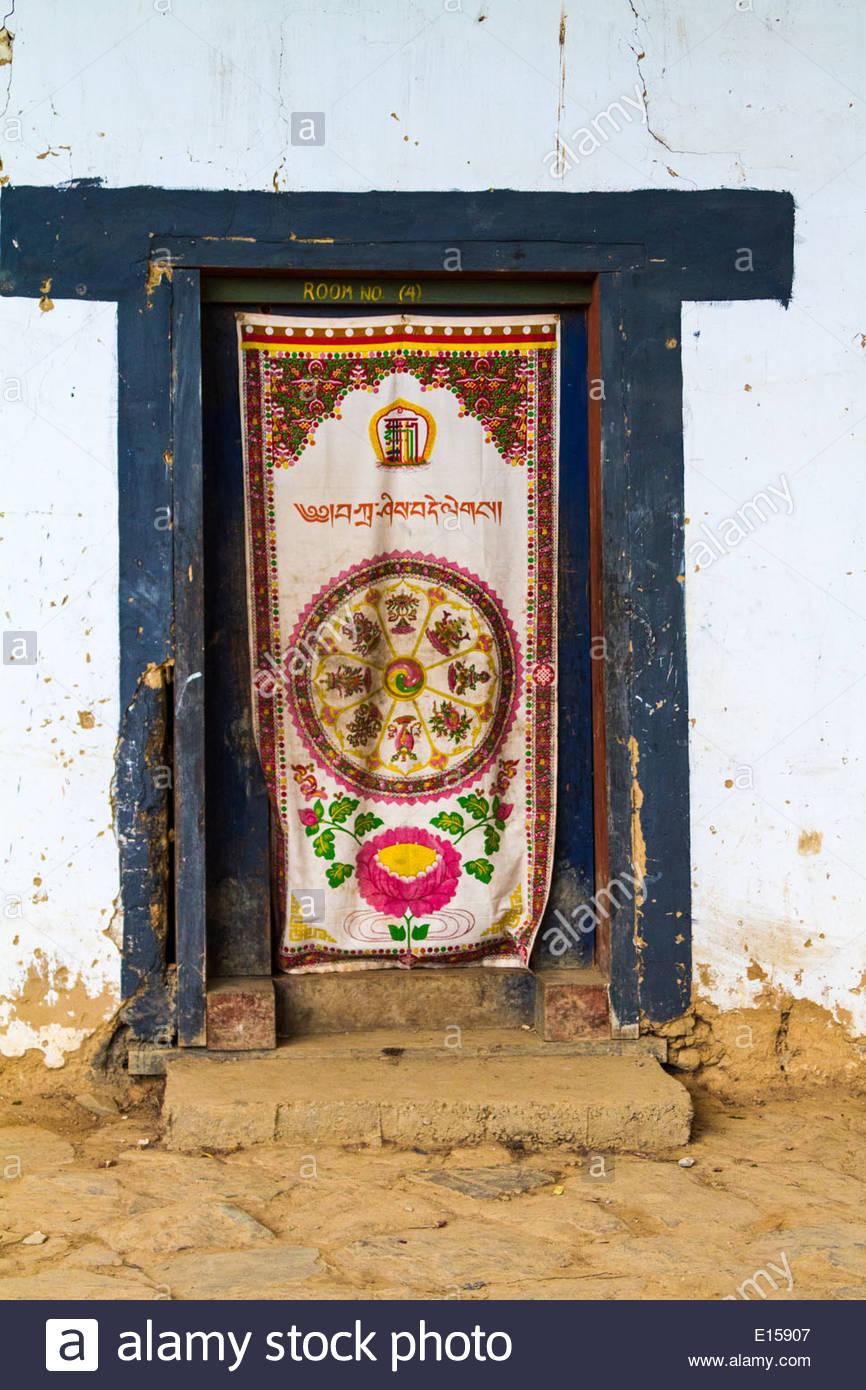Stock Photo - Traditional Tibetan Buddhist Door Covering Gangteng Monastery Phobjika Valley Wangdue Phodrang District Bhutan & Traditional Tibetan Buddhist Door Covering Gangteng Monastery ... pezcame.com