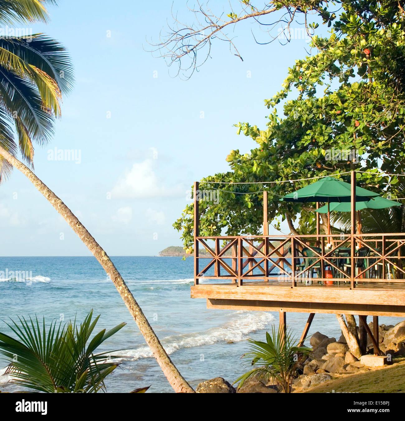 Stock Photo   Patio Restaurant Bar Over Caribbean Sea Resort Big Corn  Island Nicaragua Central America