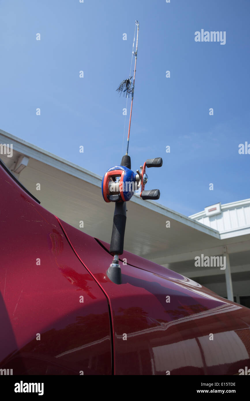 Fishing Pole Car Antenna Mounted On A Pickup Truck Stock