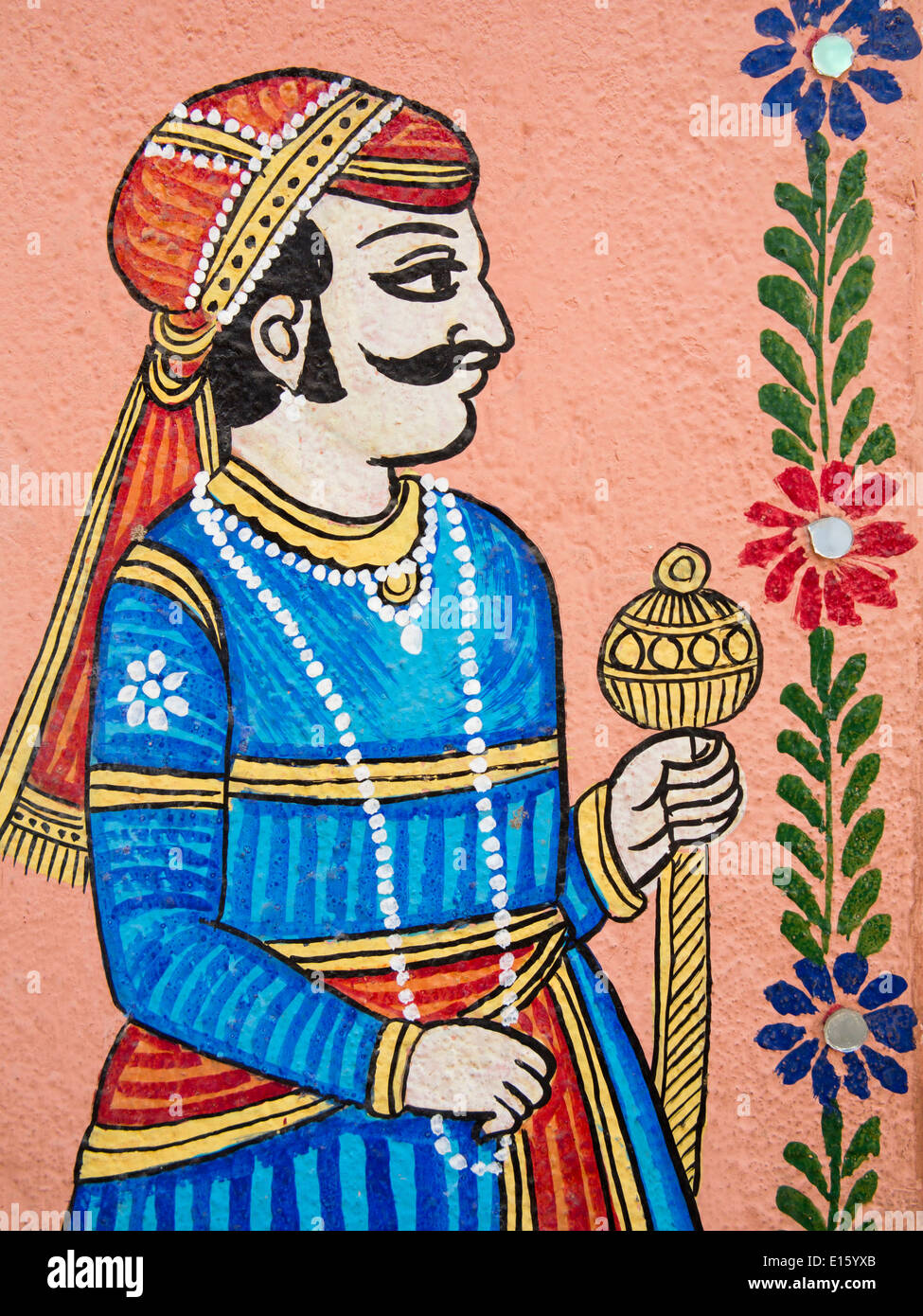 india  rajasthan  udaipur  traditional wall painting of