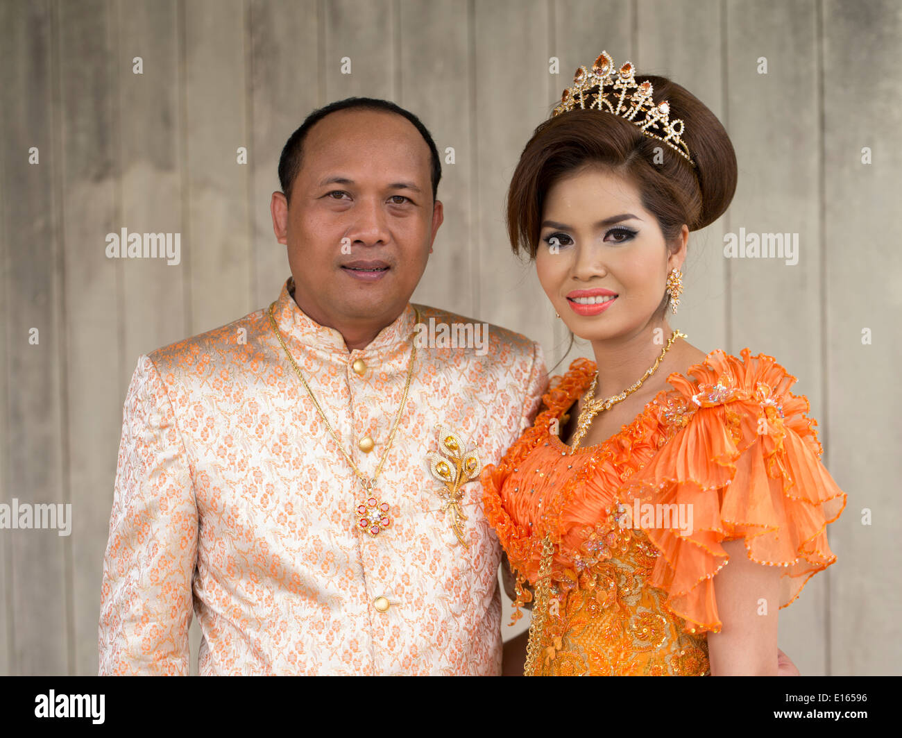 Groom And Bride In Traditional Dress At Cambodian Wedding Of Suon Kosal Pao Sara Siem Reap Cambodia