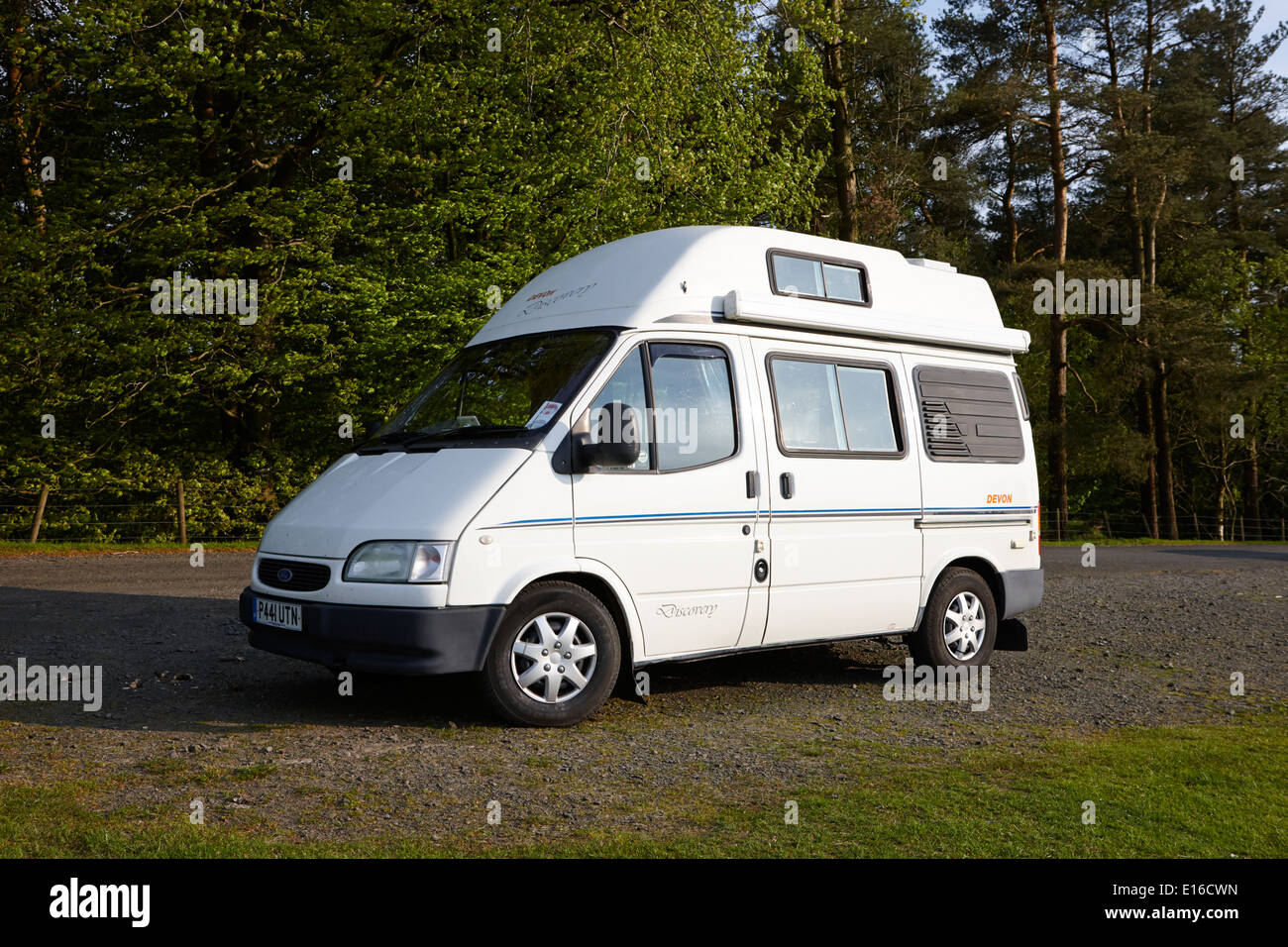 old ford transit campervan parked off the beaten track in. Black Bedroom Furniture Sets. Home Design Ideas