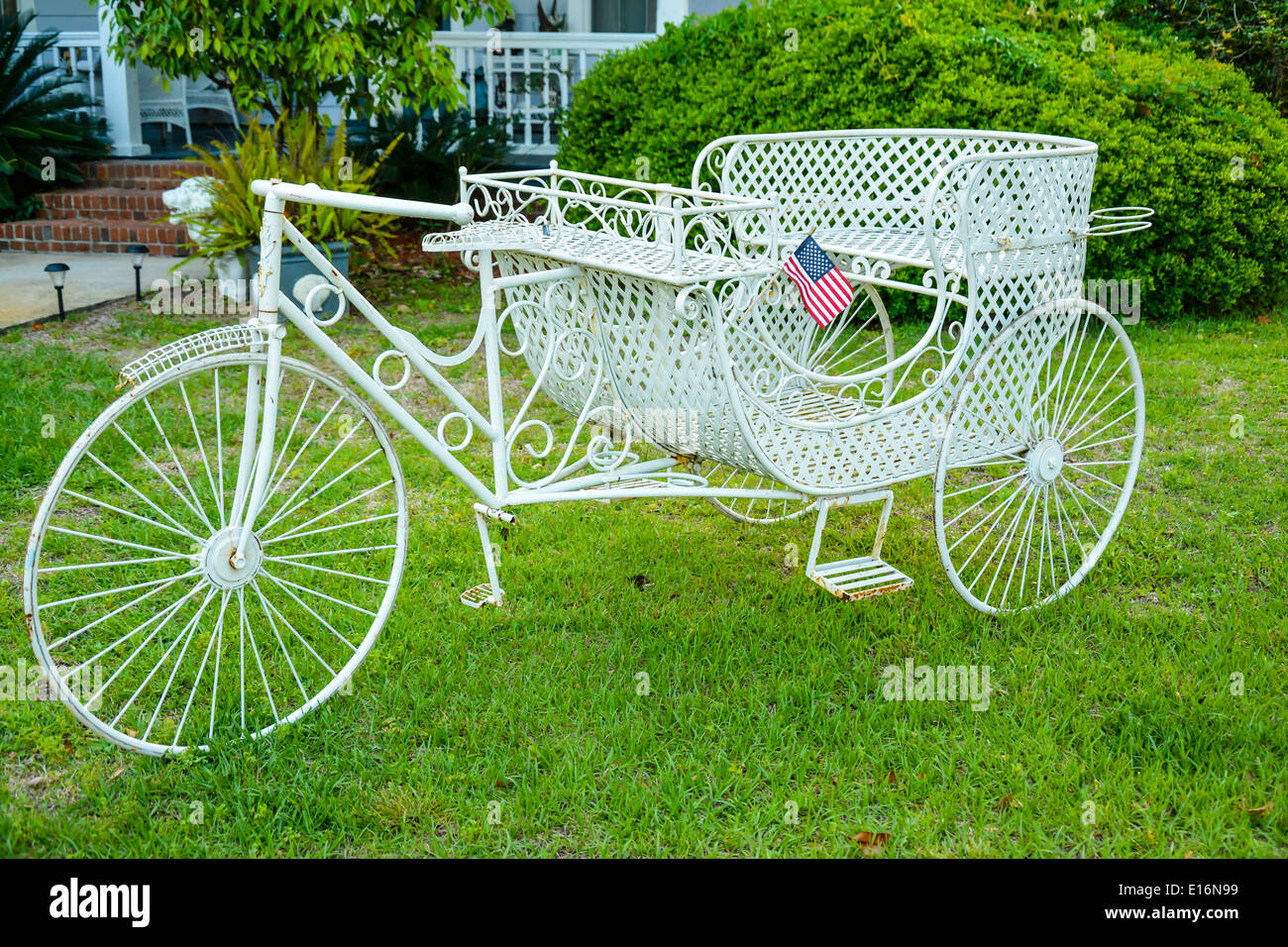 White Wrought Iron Tricycle Garden Ornament In The Yard Of The Goodbread  House Bu0026B Inn, St. Maryu0027s, GA