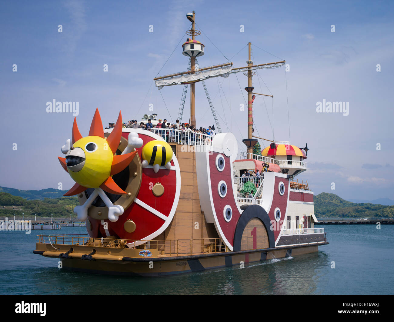 One Piece Boat Japanese Anime By Eiichiro Oda At Huis Ten Bosch, A Theme  Park In Sasebo, Nagasaki, Japan.