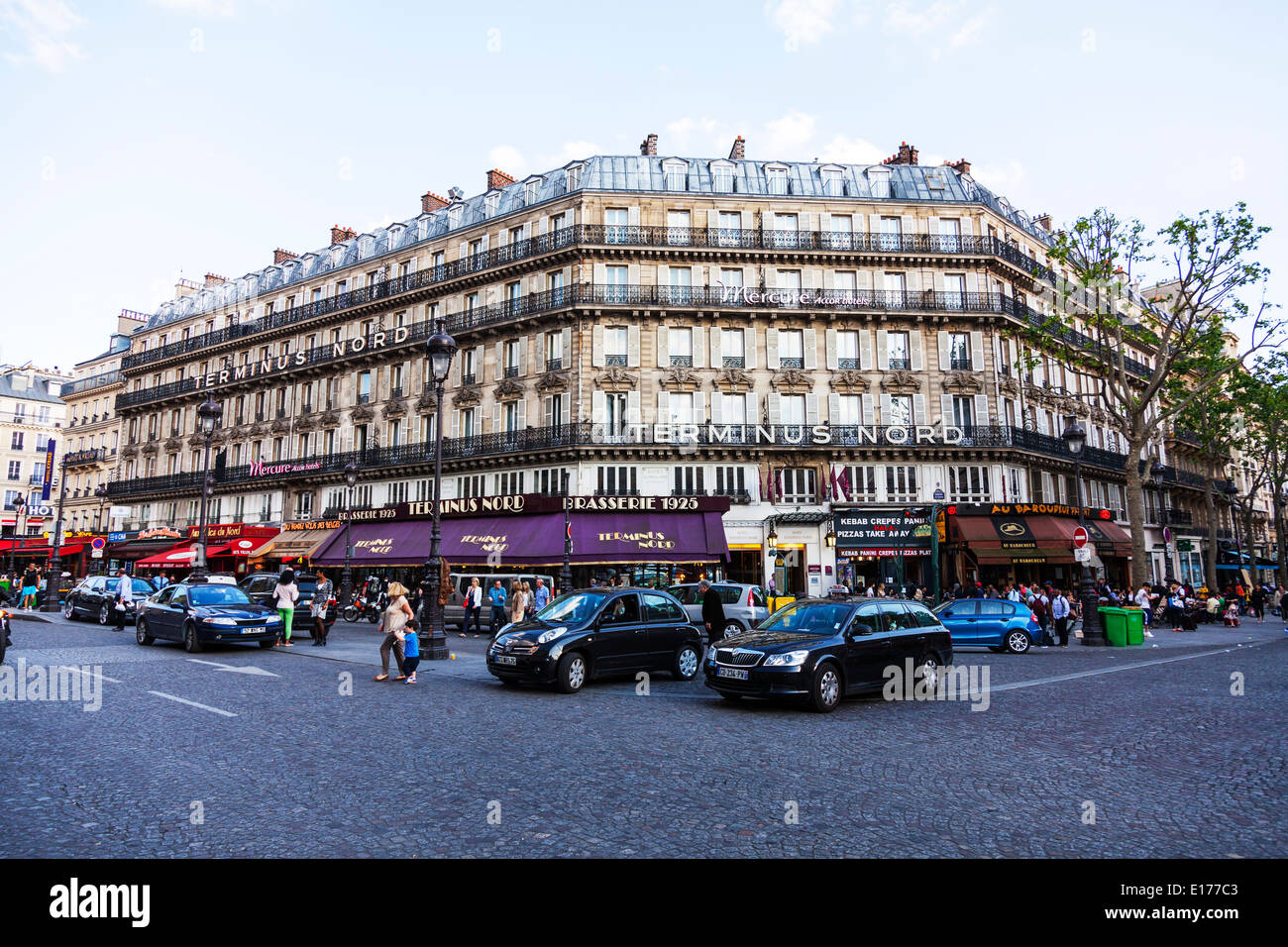 the hotel terminus nord in paris opposite the gare du nord station stock photo royalty free. Black Bedroom Furniture Sets. Home Design Ideas