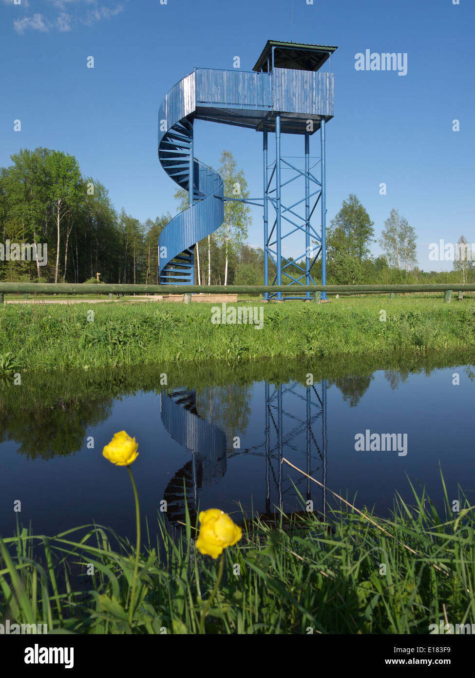 L tti watchtower in soomaa national park estonia viljandi county may 2014 stock