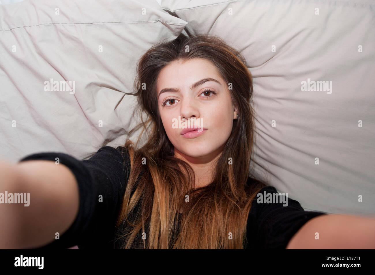 teenage 13 year old girl posing for a pretend selfie in. Black Bedroom Furniture Sets. Home Design Ideas