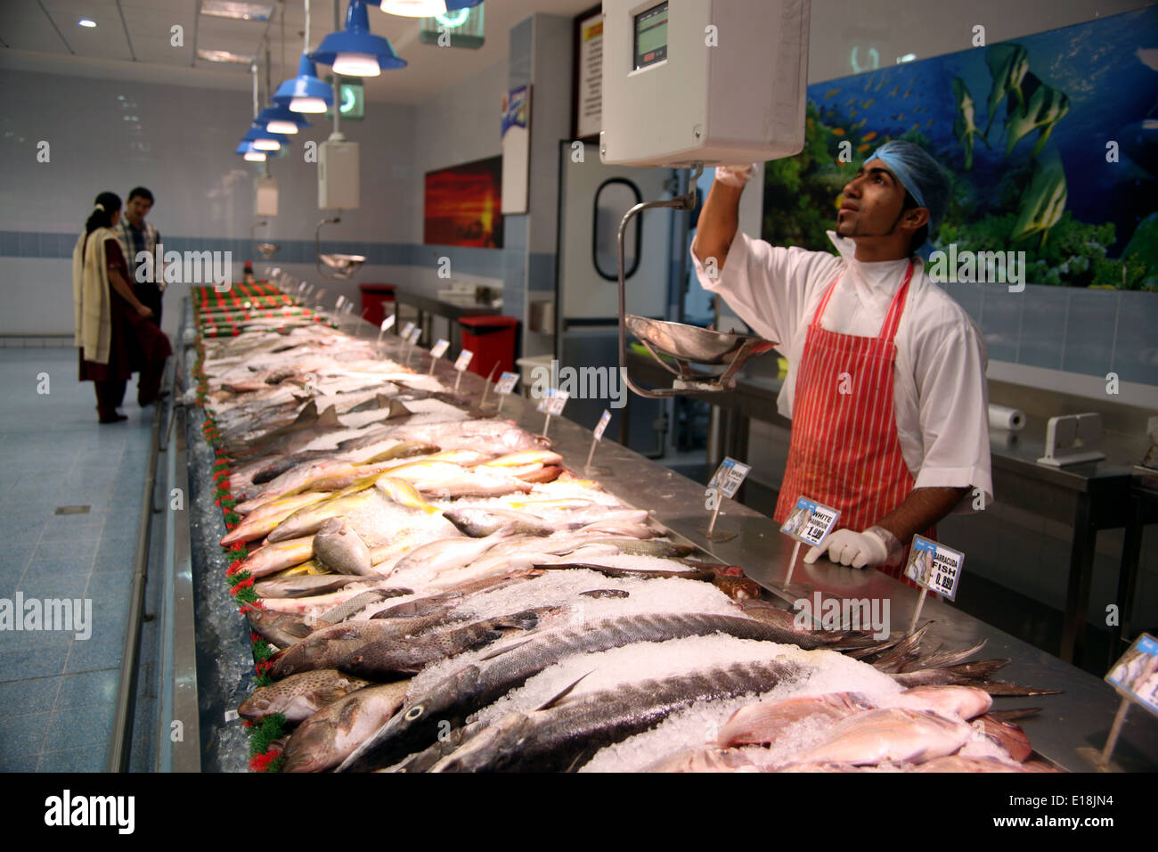 Fresh seafood counter in lulu supermarket muscat oman for Fresh fish store