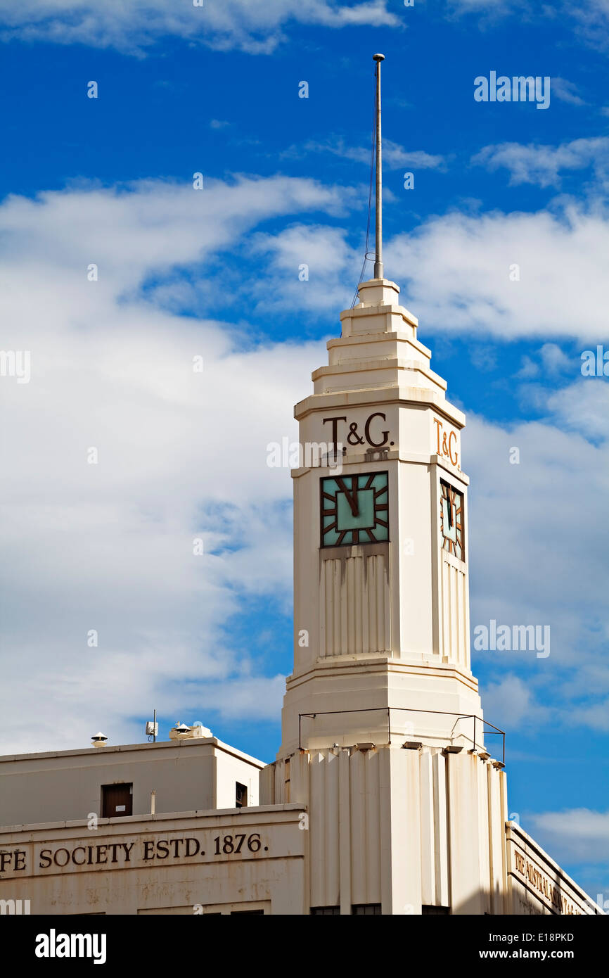 hobart australia / the art deco style t&g building in hobart stock
