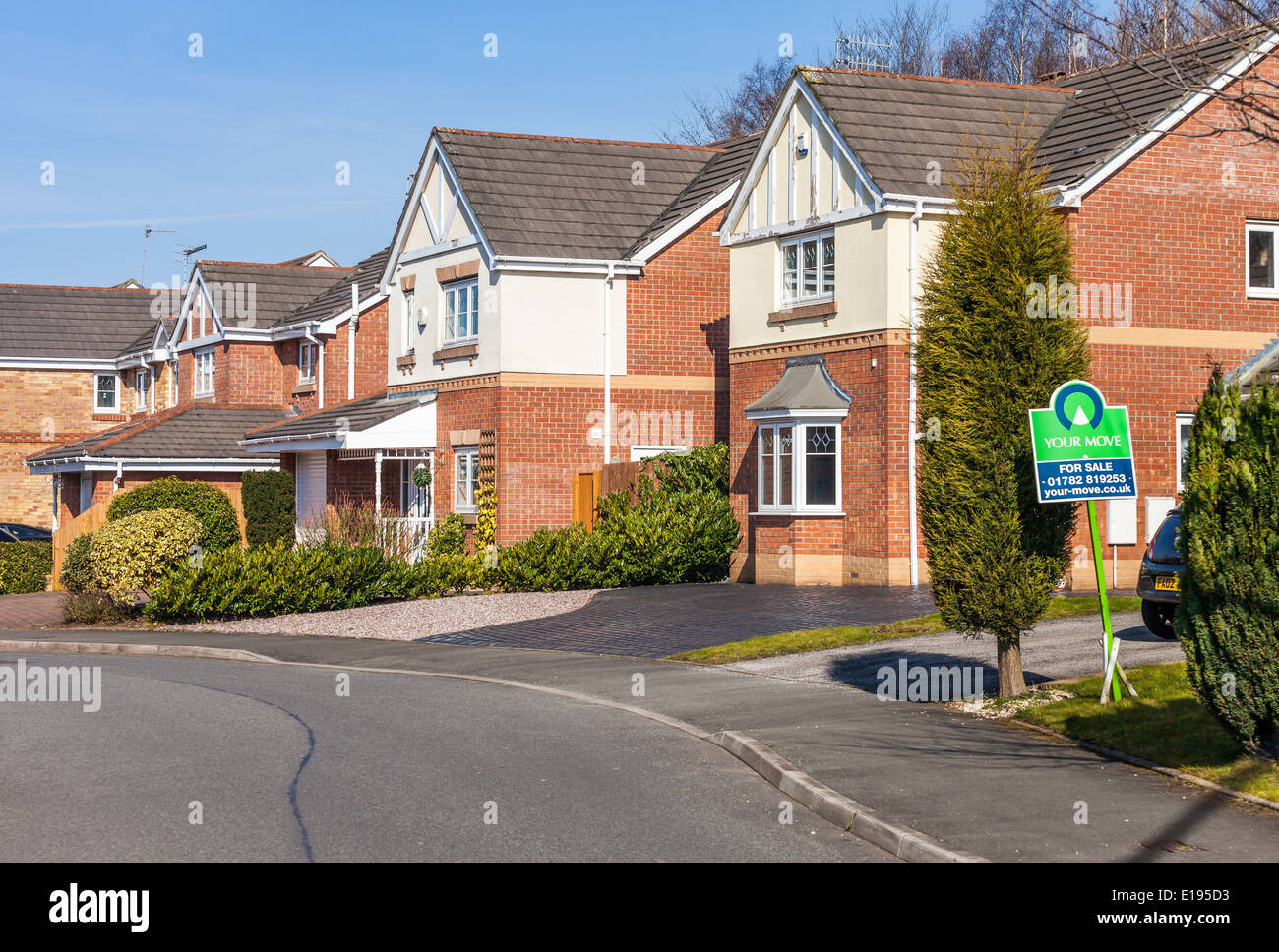 house for sale sign semi detached house for sale in the english stock photo royalty free