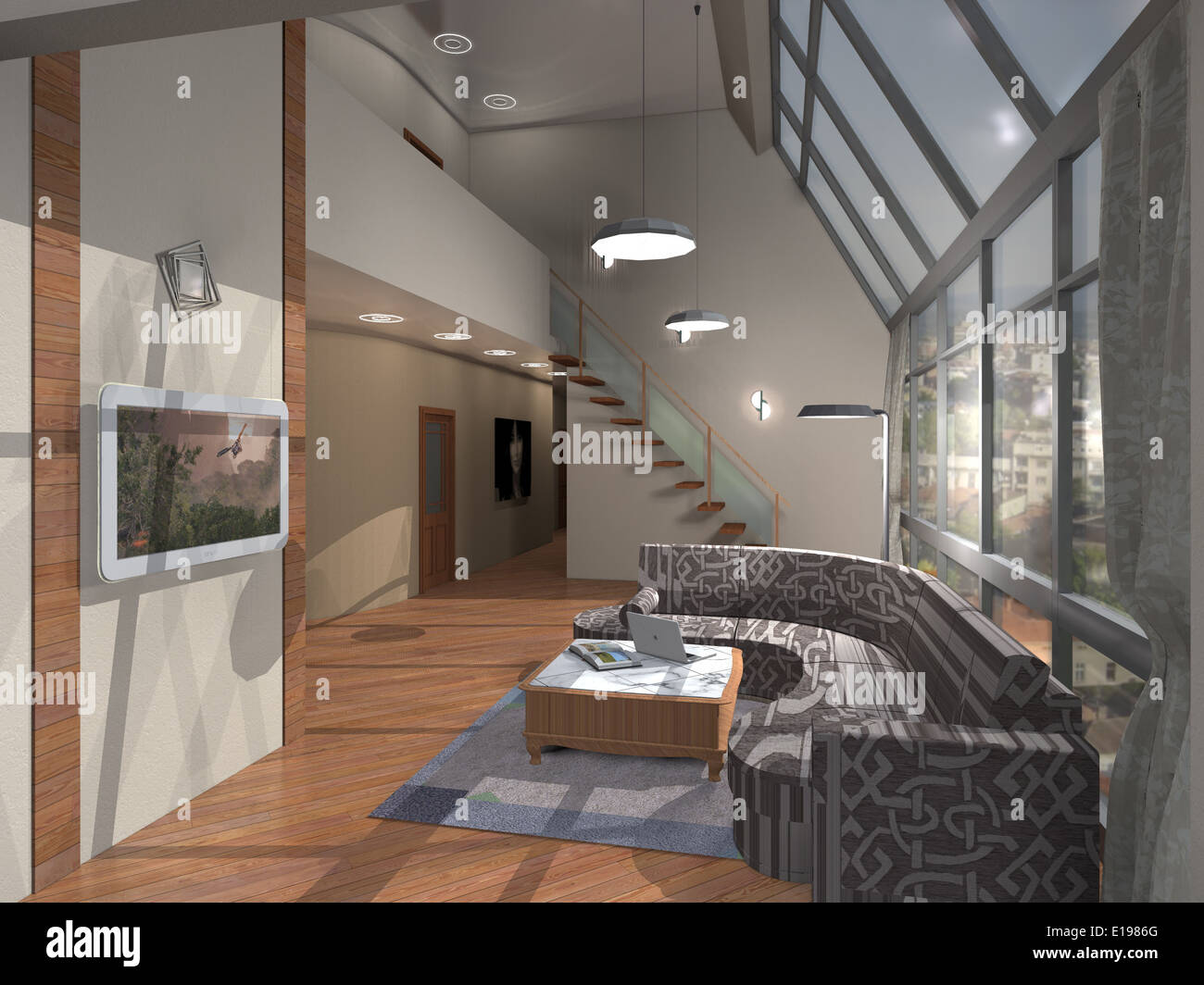 The two storey apartment. Interior of a dwelling house Stock Photo ...