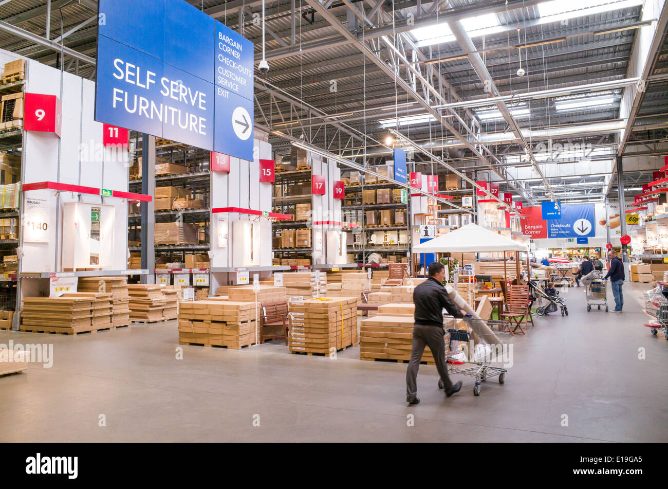 Stock Photo   Warehouse Area Of Ikea Furniture Store, England, UK