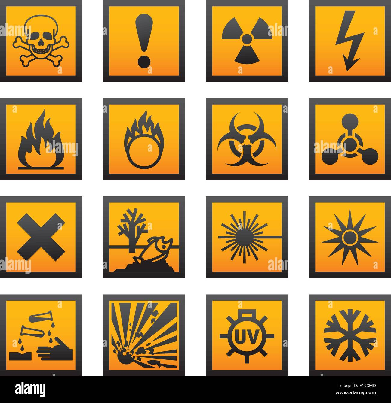 European hazard symbols Stock Vector Art & Illustration, Vector ...