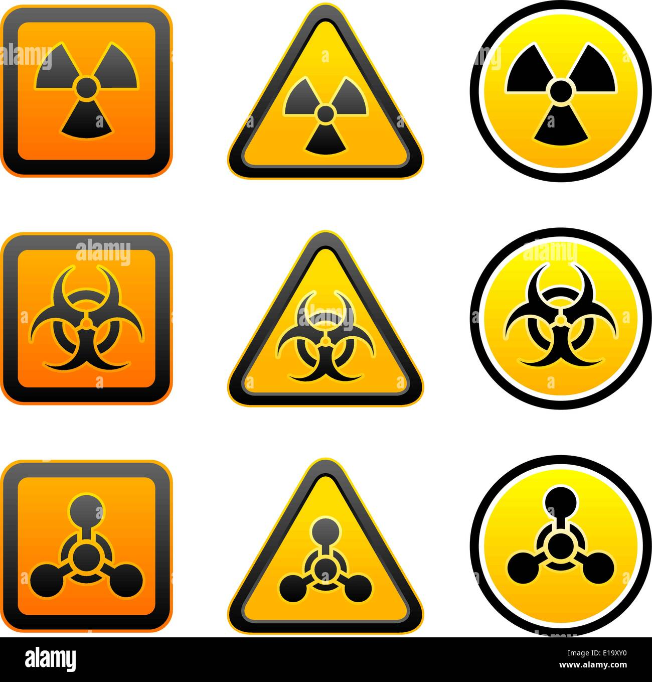 Set hazard warning radioactive symbols radiation chemical set hazard warning radioactive symbols radiation chemical weapon biohazard sign biocorpaavc Gallery