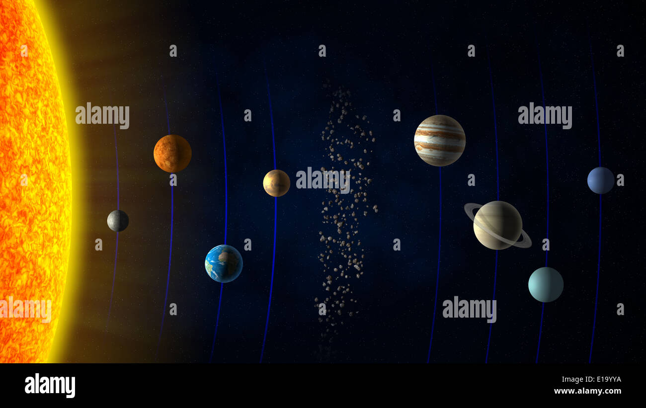 Solar system sun the planets and the asteroid belt stock photo solar system sun the planets and the asteroid belt pooptronica Images