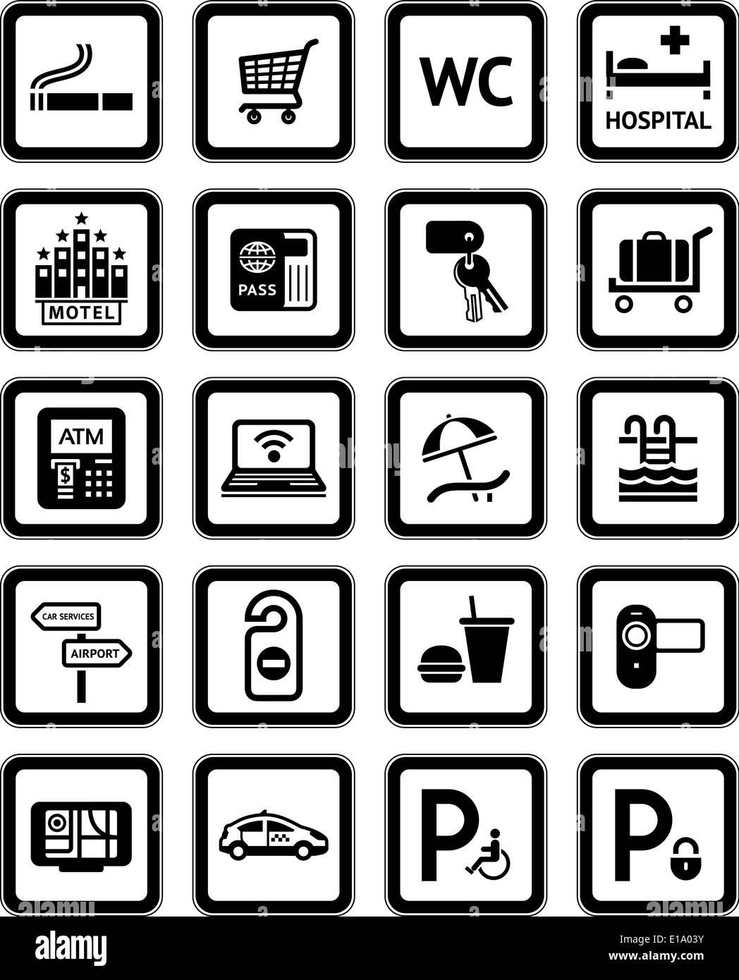 Signs set hotel services Symbols motel services Black Stock Vector Art & Illustration Vector