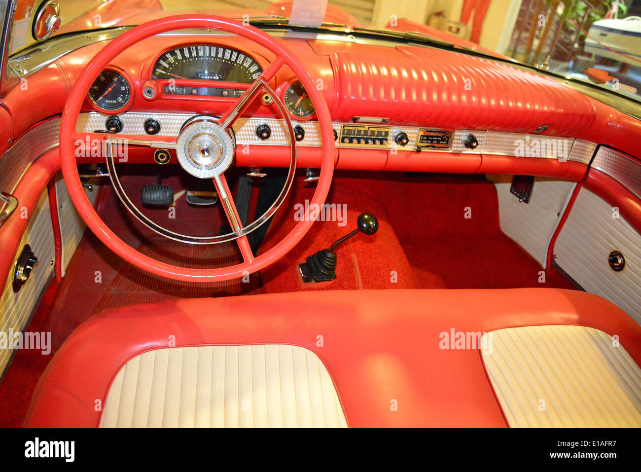american thunderbird car interior malta classic car museum qawra stock photo royalty free. Black Bedroom Furniture Sets. Home Design Ideas