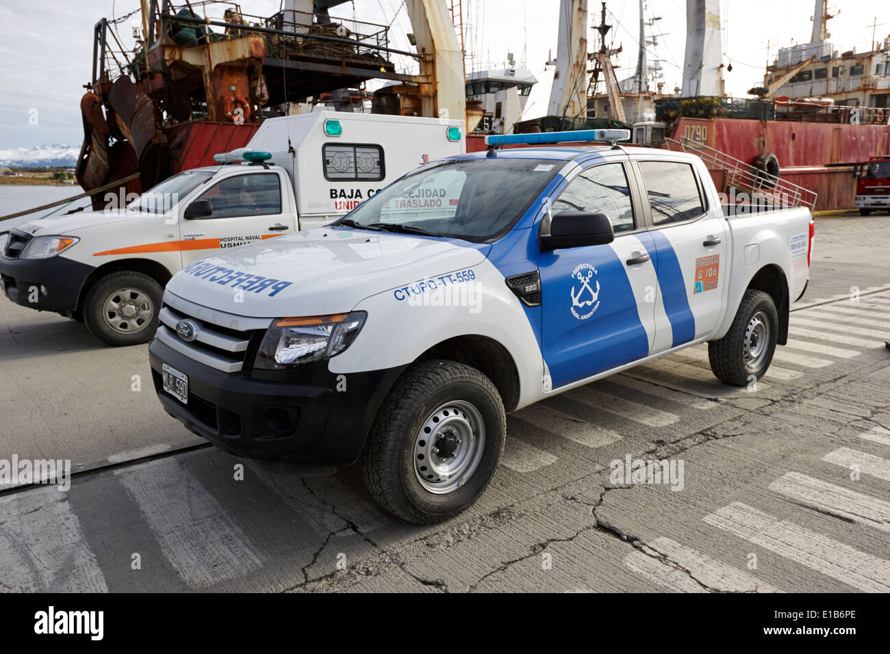 Prefectura naval argentina ford ranger patrol vehicle on pier in ushuaia argentina stock image