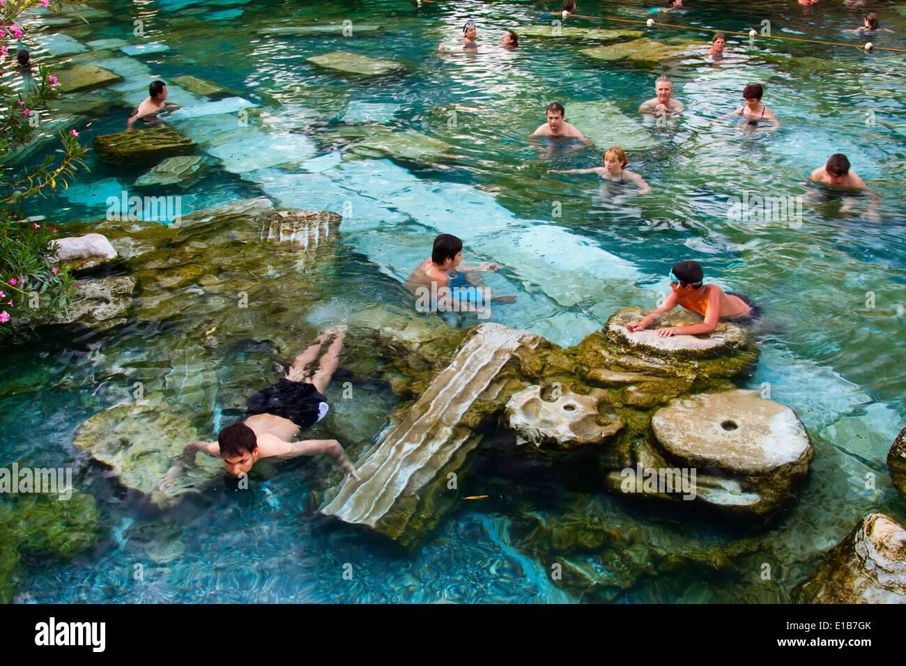 Swimming Pool Hierapolis Denizli Province Anatolia Turkey Asia Stock Photo Royalty Free