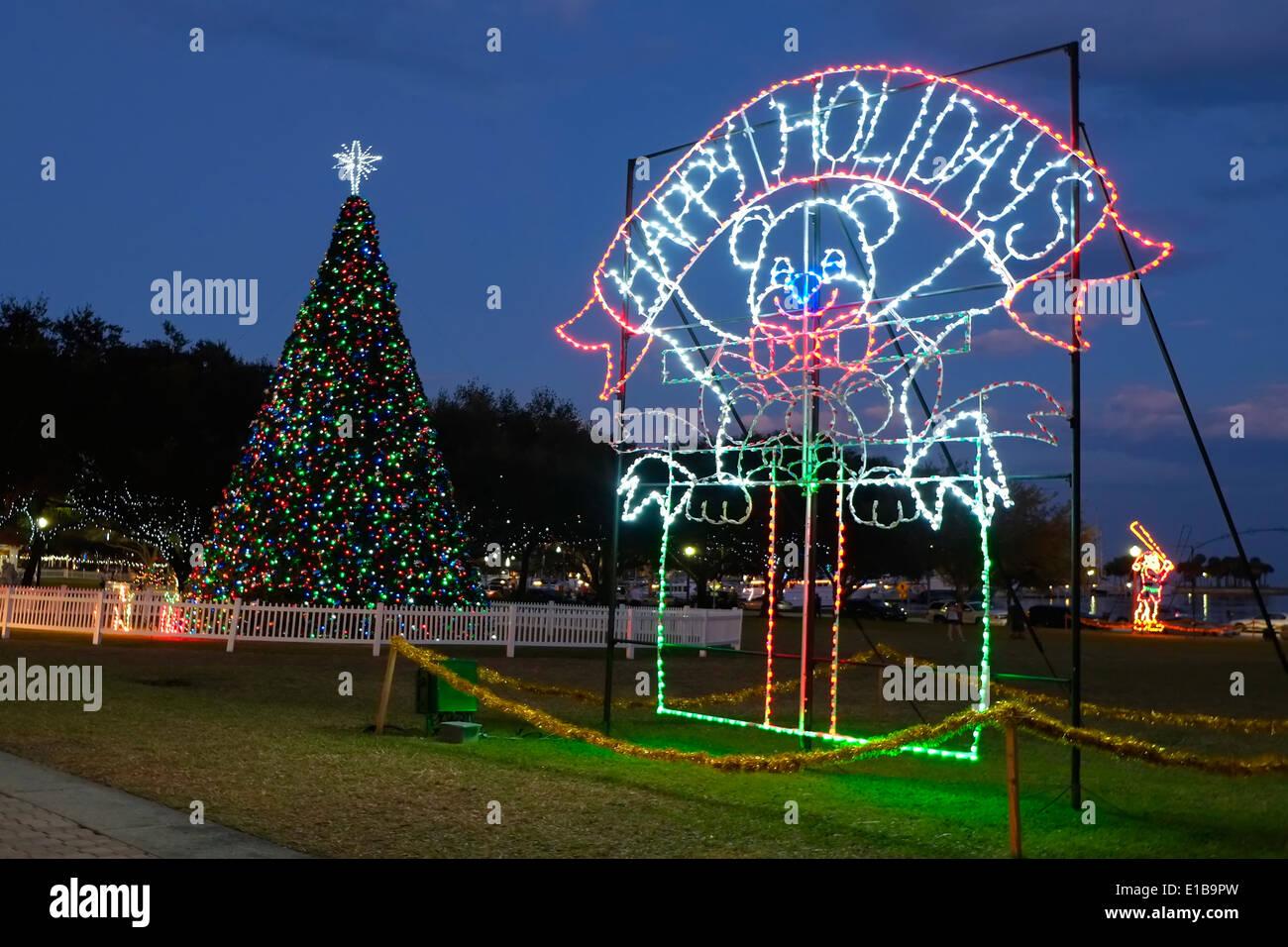 Florida christmas ornament - Christmas Ornament Display At North Straub Park St Petersburg Florida Fl