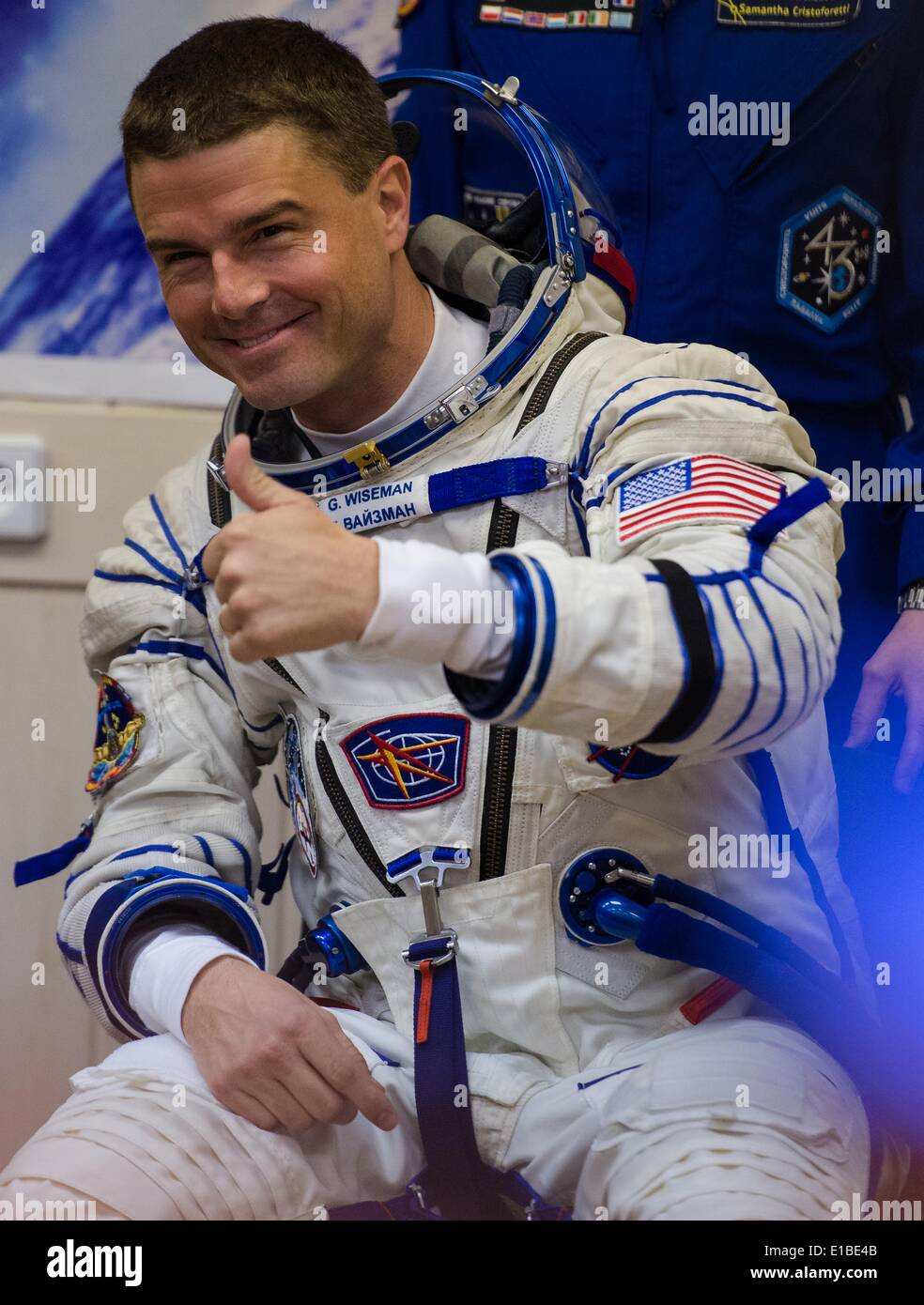 ISS Expedition astronaut Reid Wiseman of NASA is seen during Russian Stock Photo, Royalty Free ...