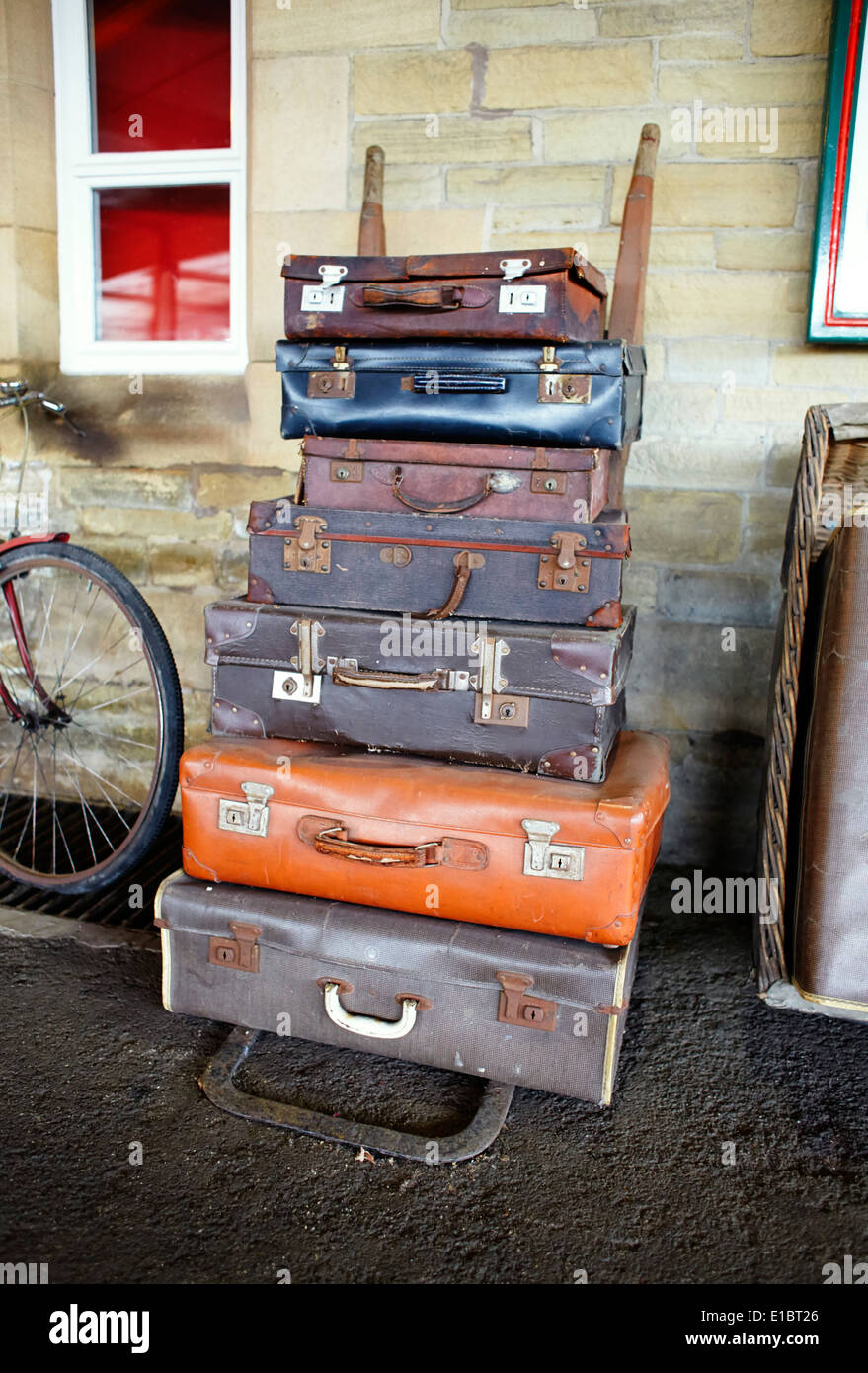 Old Suitcases Stack Of Old Suitcases At Railway Station Stock Photo Royalty
