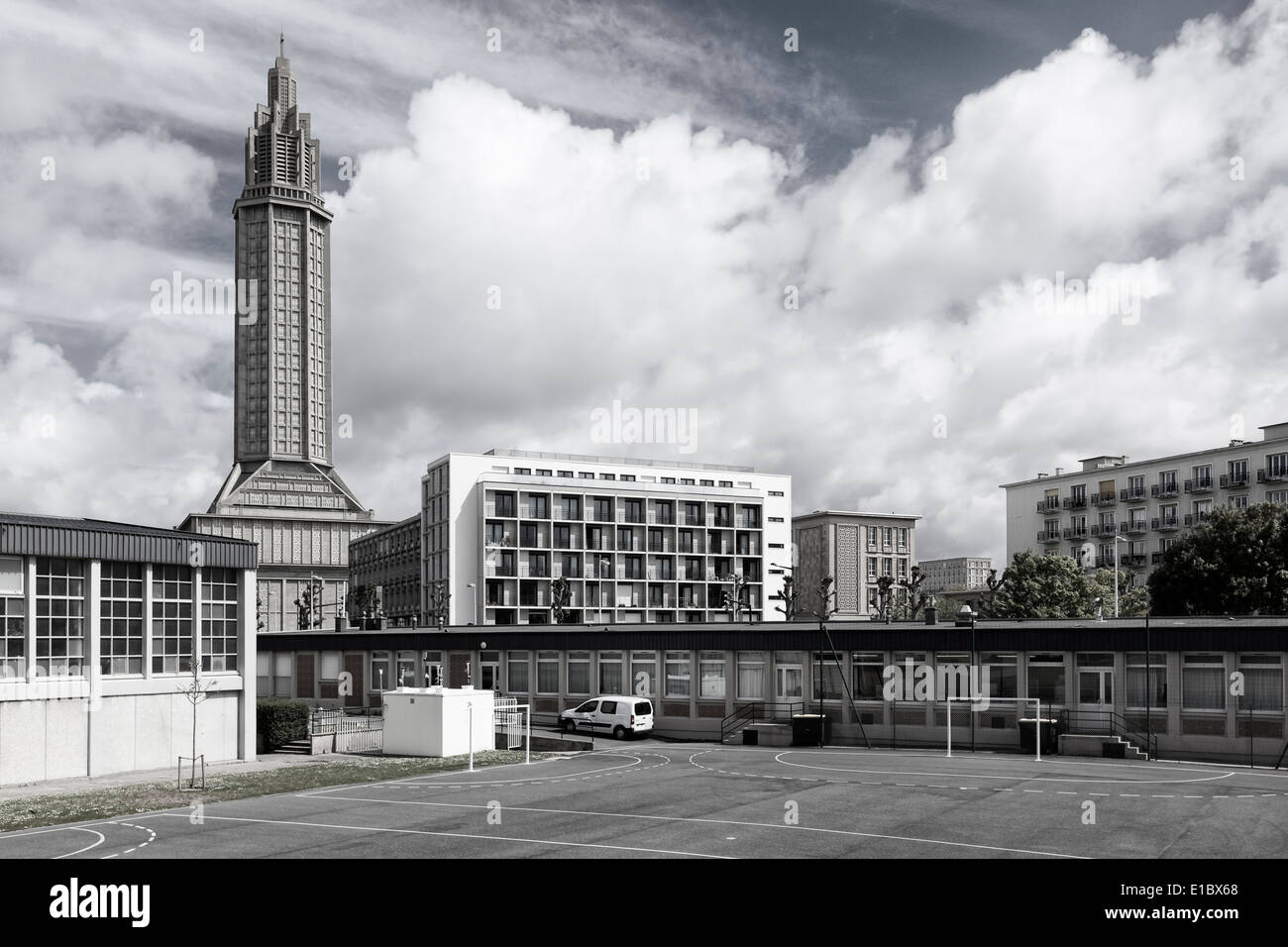 saint josephs church and other concrete buildings from the 1950s at stock photo royalty free. Black Bedroom Furniture Sets. Home Design Ideas