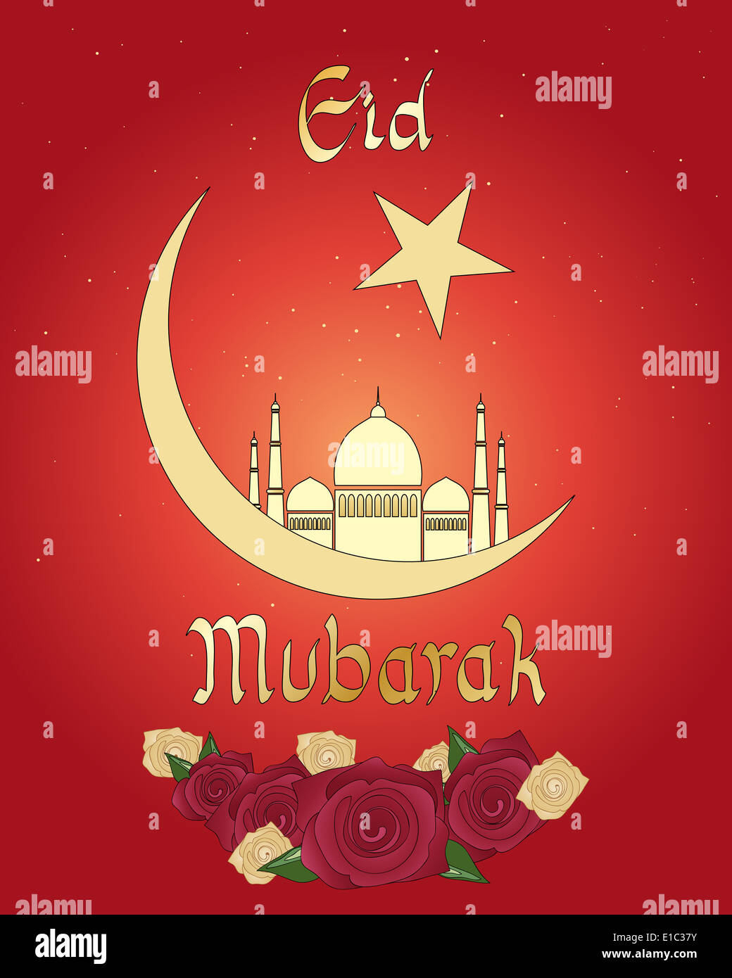 An illustration of an eid greeting card with islamic crescent moon an illustration of an eid greeting card with islamic crescent moon mosque and roses on a red background kristyandbryce Choice Image