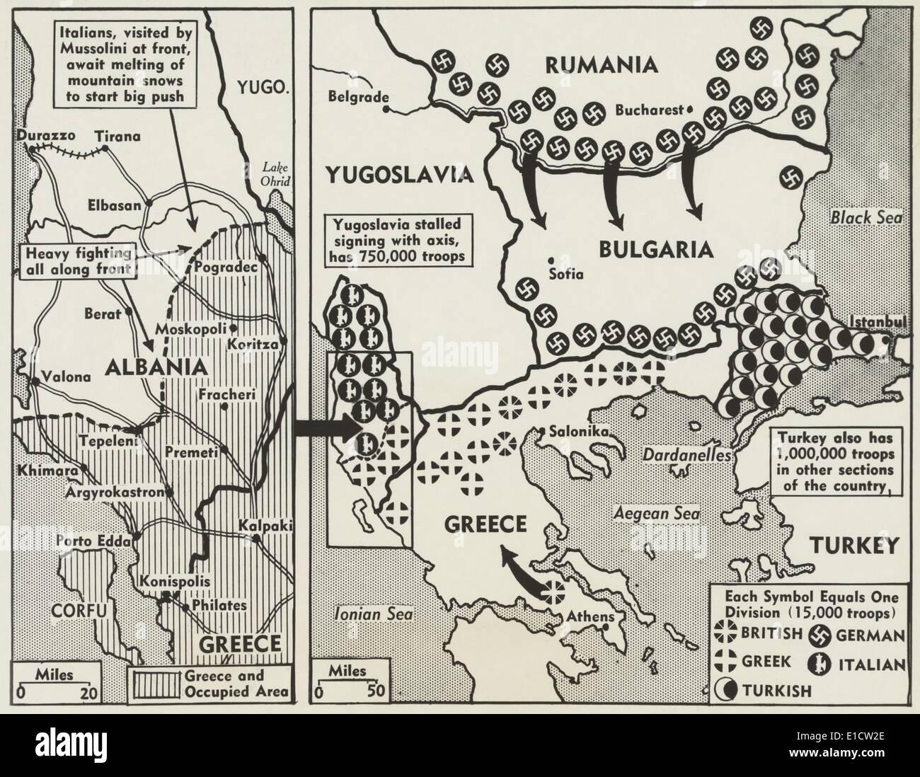 World war 2 map of greece and the balkans in 1941 symbols show world war 2 map of greece and the balkans in 1941 symbols show the positions of british german greek italian and turkish buycottarizona Gallery