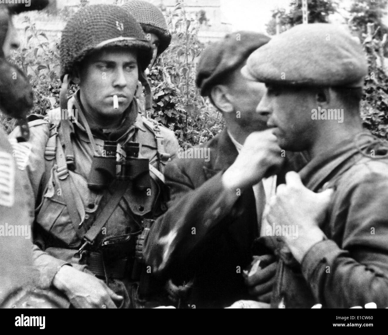 French civilians with american paratroopers who jumped into normandy on d day june 6 1944 france world war 2