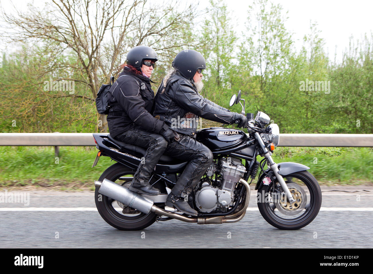 two aging bikers riding suzuki bandit n600 motorcycle stock photo royalty free image 69742842. Black Bedroom Furniture Sets. Home Design Ideas