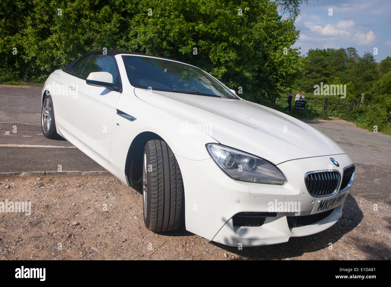 Stock photo white bmw 6 series m sport convertible 2 door 640d parked