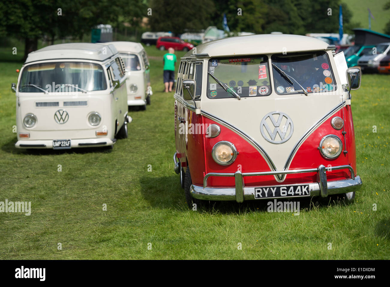 1971 Red White VW Split Screen Volkswagen Camper Van At A Show England