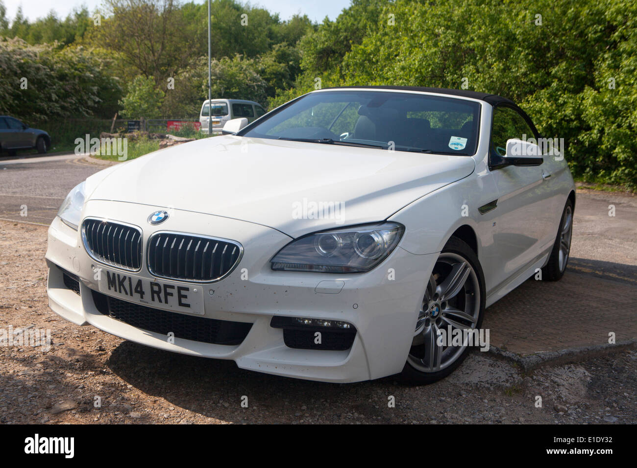 White BMW 6 Series M Sport Convertible 2 Door 640d Parked