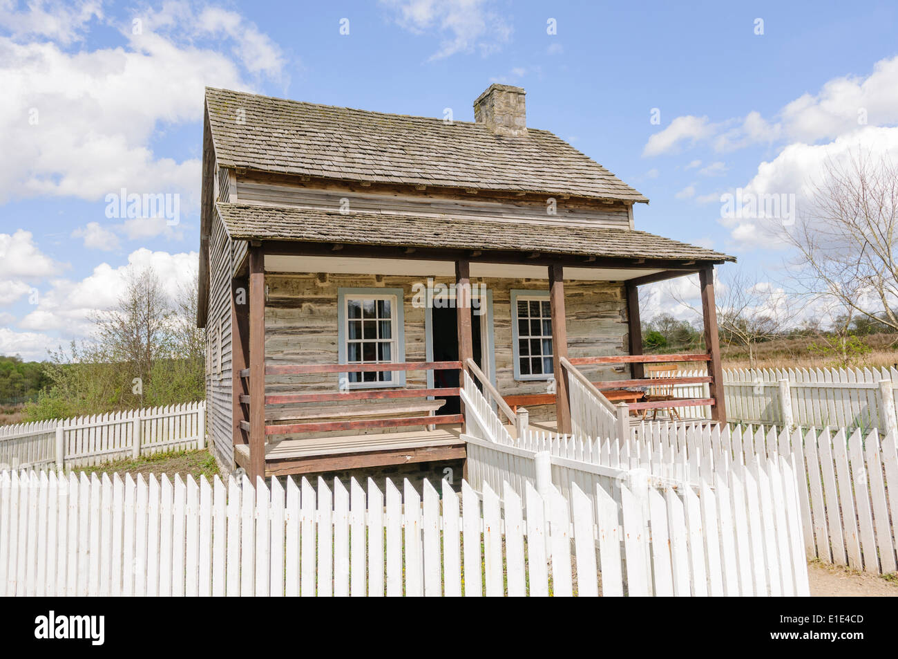 Old Fashioned Wooden American Farm House With A White