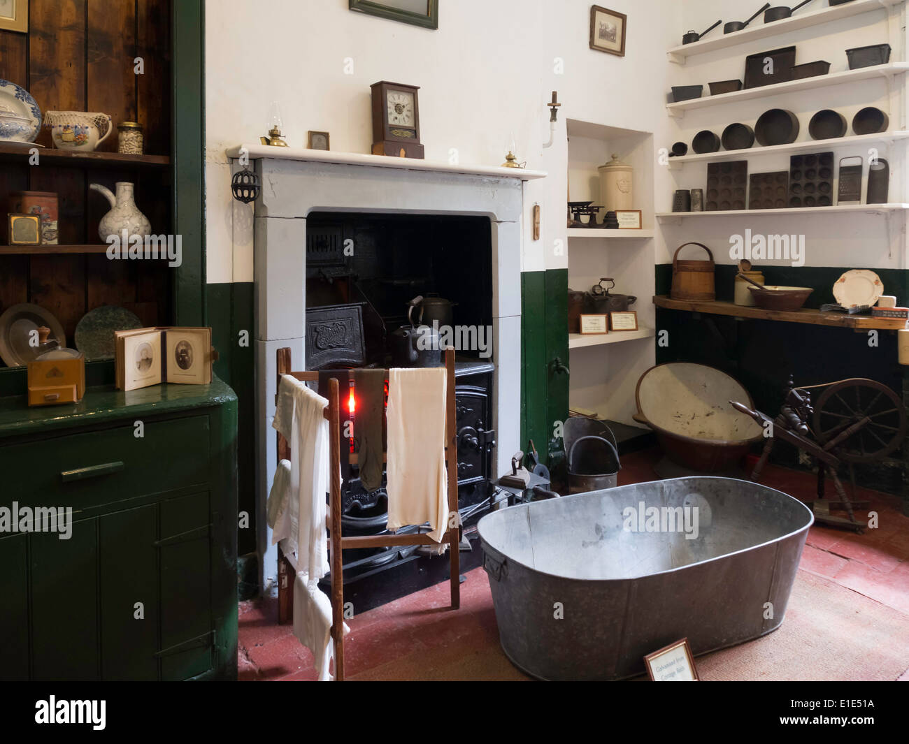 Exhibit Of Old Fashioned Kitchen At The Bygones Museum At Holkham Hall  Norfolk England UK With