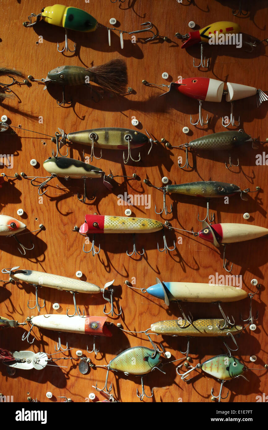 a sample of different types of fishing lures, on display at the, Hard Baits