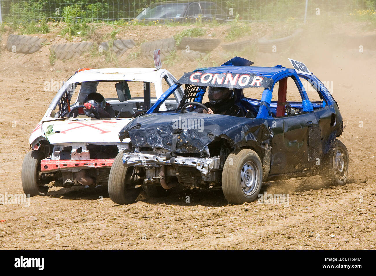 Banger Racing Cars In Action At Stansted Raceway In Essex Uk Stock